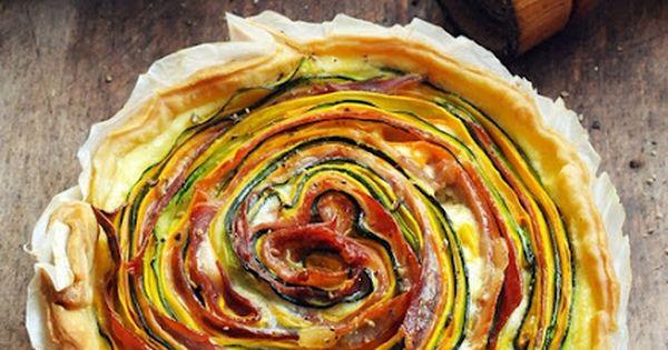 Tarte multicolore légumes et jambon d'Aoste. A afire en tartelette aux légumes,