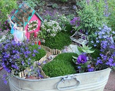 mini garden ideas in a wash tub