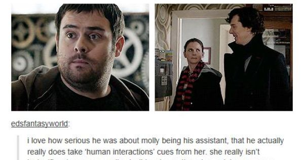 Sherlock and Molly character development.....and I also ship them to the moon