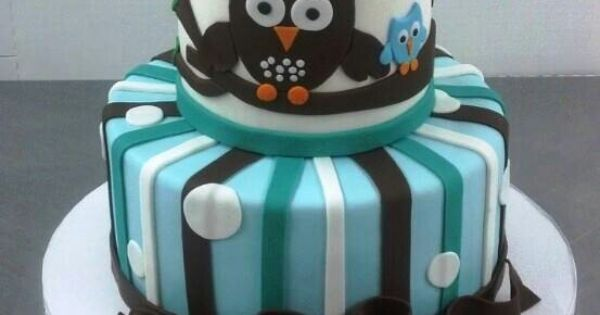 It's a BOY Baby Shower Owl Cake! | Food photos | Pinterest ...