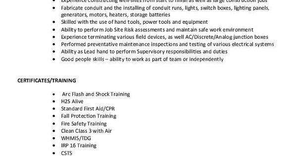 Resume Sample - Electrical Apprentice