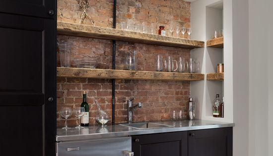 Man Cave Brick Wall Ideas : With backsplash and sink also various glass in cabinets