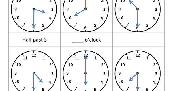 telling time worksheets o 39 clock and half past kindergarten gr 1 math pinterest telling. Black Bedroom Furniture Sets. Home Design Ideas