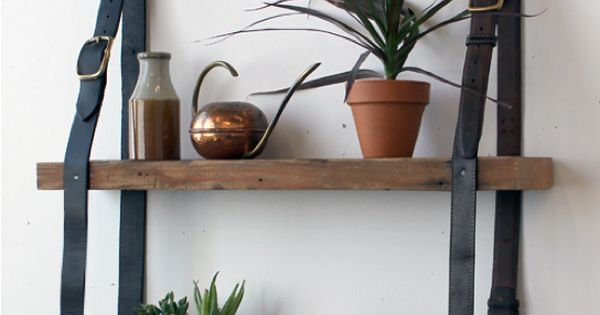 wood shelves | DIY Leather Belt Shelves Beautiful DIY Shelving Made Easy