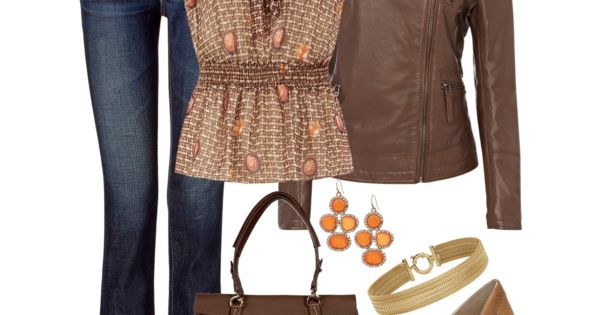 Spring outfit in brown with orange accents