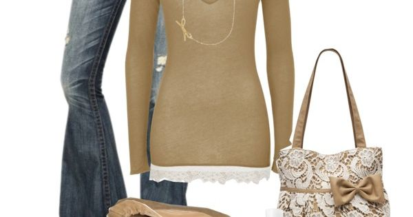 """Neutral Bows"" by kaseyofthefields on Polyvore....i especially love the bag!!"