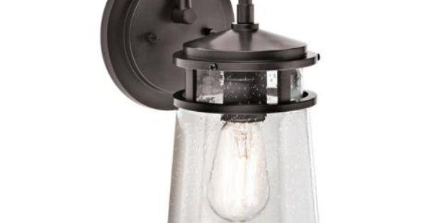 "Shop Kichler Lighting 4 Light Bayley Olde Bronze Bathroom: Kichler Lyndon 15"" High Seedy Glass Outdoor Wall Light"