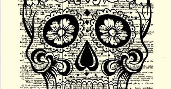 Pinterest halloween wall decor : Sugar skull with flowers day of the halloween decor