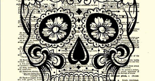 Pinterest halloween wall decor : Sugar skull with flowers day of the halloween decor