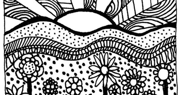 Download printable adult coloring page digital hand drawn for Sunset coloring pages for adults