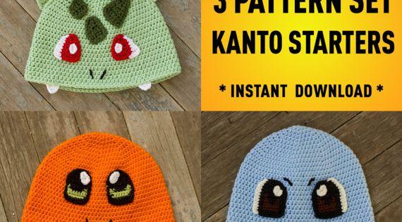 First Generation Starter Pokemon Inspired Crochet Pattern Pack Charmander Bulbasuar Squirtle