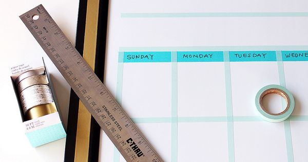 Turn A Plain Whiteboard Into A Calendar With Washi Tape