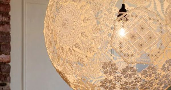 The lace doily version of yarn balls also very exciting for Doily light fixture
