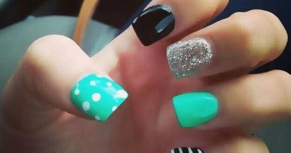 Teal With Black And White And Silver Glitttet Nail Art