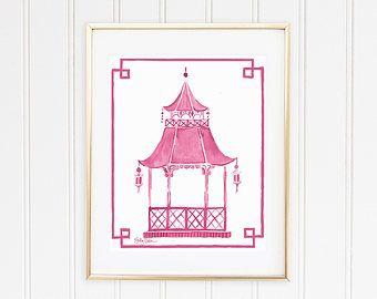 Items Similar To Chinoiserie Wall Art Pagoda Print Hollywood Regency Decor Blue Pagoda Wall Decor Pagod Etsy Wall Art Art School Inspiration Asian Wall Art