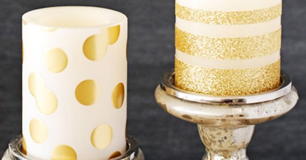 DIY Gold Glitter Candles. Perfect for an added touch of sparkle for