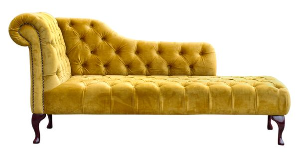 Paloma velvet gold chaise lounge the luxurious and for Black and gold chaise lounge