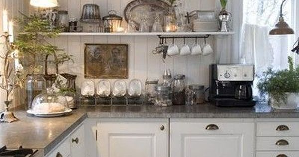 French country cottage farmhouse white cabinets _ open shelves for kitchen