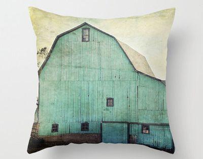 Decorative Throw Pillow Cover Aqua Barn Vintage Turquoise