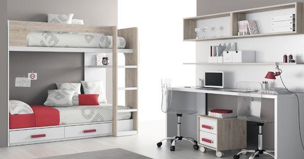Kids touch 65 litera mas escritorio juvenil literas y cama - Habitacion tren juvenil ...