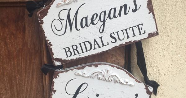Bridal suite sign and groom room sign for wedding day