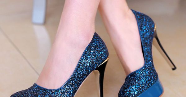 Royal Blue Glitter High Heel Fashion Pumps