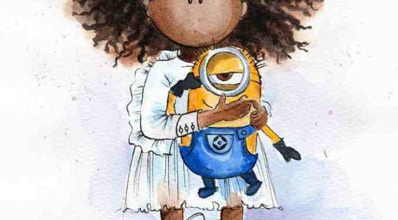 African American Little Girl With Minion Watercolor Print Watercolor Painting Poster Wall
