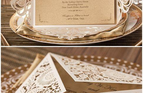 Delicate metallic laser cut wedding invitations. //Aisle Perfect- Lace Invitations Inspiration.