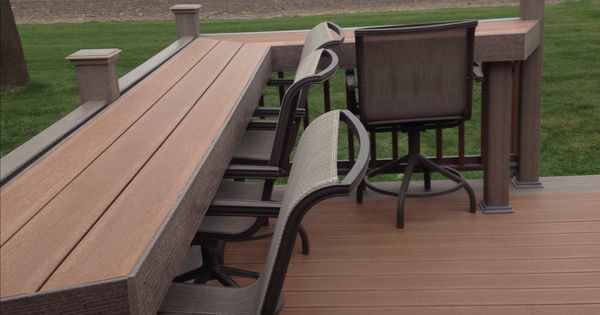 Our new composite deck and it has a bar built in. | Deck ...