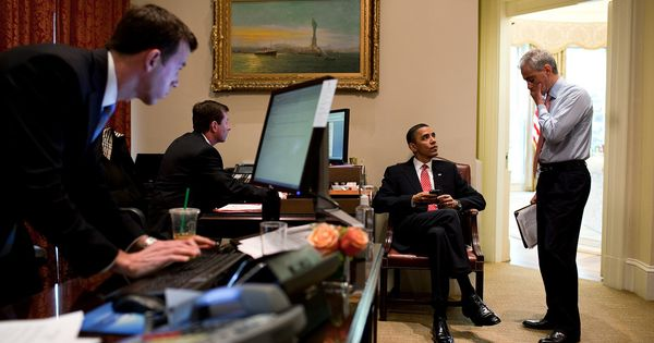 President Obama talks with Chief of Staff Rahm Emanuel in ...