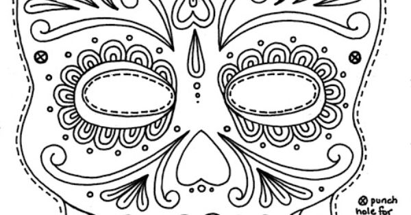 Day of the dead mask printable dia de los muertos for Day of the dead skull mask template
