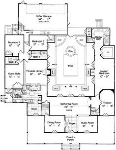 Plan 6438hd Center Courtyard And Home Theater House Plans Farmhouse Mediterranean Style House Plans Farmhouse Floor Plans