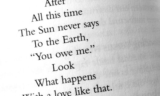 """even after all this time the sun never says to the earth"