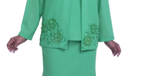 Mother Of Bride Kelly Green Plus Size Dress 3 Piece Tea