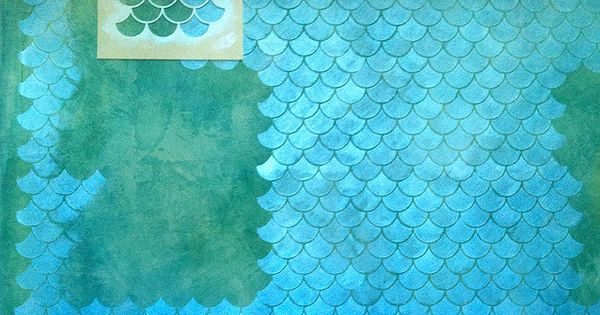 Fish Scale Wall Diy Tutorial Stencil And Metallic Paint