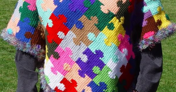 Autism Awareness Puzzle Piece Poncho**NEW**Puzzle Scarf ...