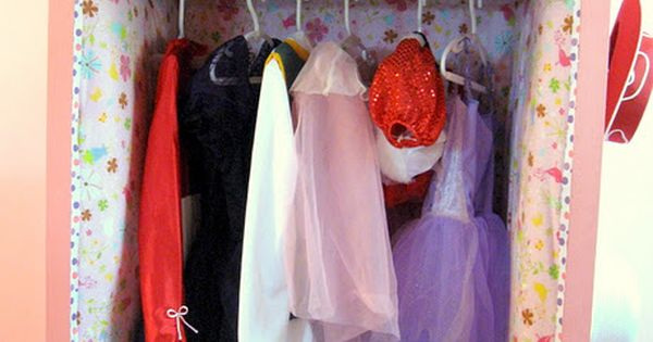Turn an old dresser into this fabulous dress-up closet. I can't even
