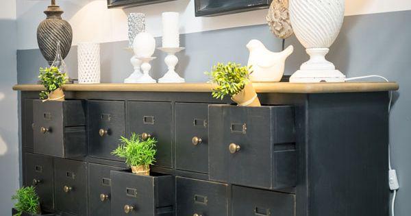 Meuble de m tier 18 tiroirs meuble de metier classique for Meuble classique chic