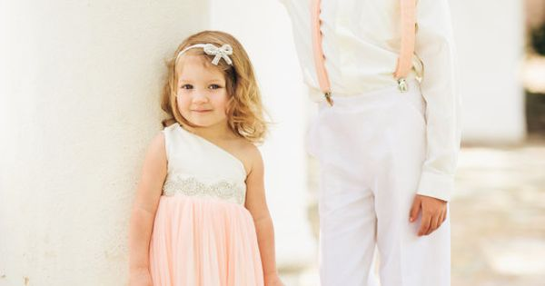 Peach Suspenders Bow Tie Set KONA Ice Peach by MiaLorenBoutique, $39.50 | I really just love the flower girl dress!
