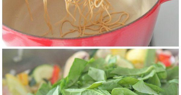 Spaghetti, Vegetables and Olives on Pinterest
