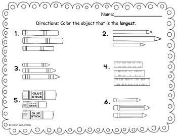 Measurement Length Math Everyday Math Kindergarten Math Worksheets Everyday math kindergarten worksheets