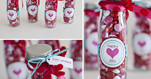 Valentine's Day idea - valentine treats in a little glass bottle