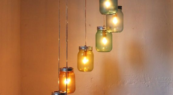 Not diy but could prob figure it out. Mason Jar Chandelier Mason