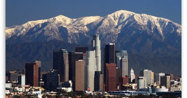 Downtown Los Angeles Hd Desktop Wallpaper High Definition Mobile Los Angeles Skyline San Gabriel Mountains Skyline