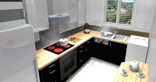 Petite cuisine quip e avec l 39 vier sous la fen tre for Deco cuisine equipee