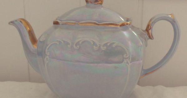 Very Pretty Vintage Sadler English Bone China Baby Blue Lustre Gold Cubed Tea Pot Afternoon Tea Vintage Tea Set Tea Sets Vintage Tea Pots Vintage Tea