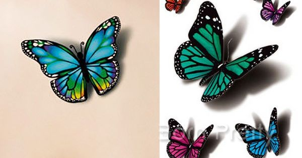 1 sheet 3d butterfly tattoo decals body art decal. Black Bedroom Furniture Sets. Home Design Ideas
