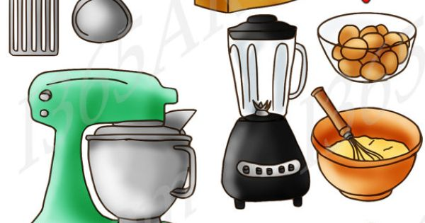 kitchen supplies clipart pack digital graphics by i365art