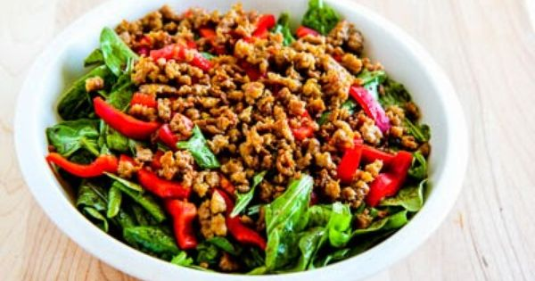 Baby Arugula Salad with Turkey Italian Sausage and Red Pepper Strips ...