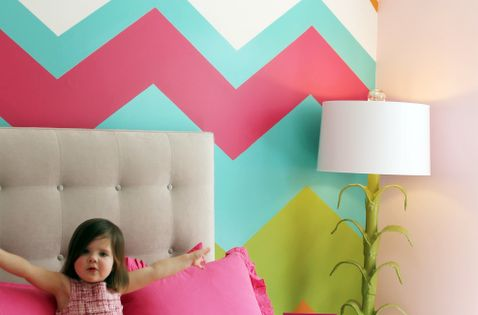 Fun, off-beat, colorful Chevron wall for little girl room